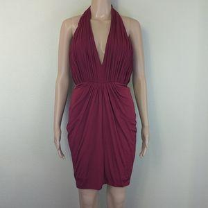 [Bebe] NWT Deep Plunging Red Draped Halter Dress